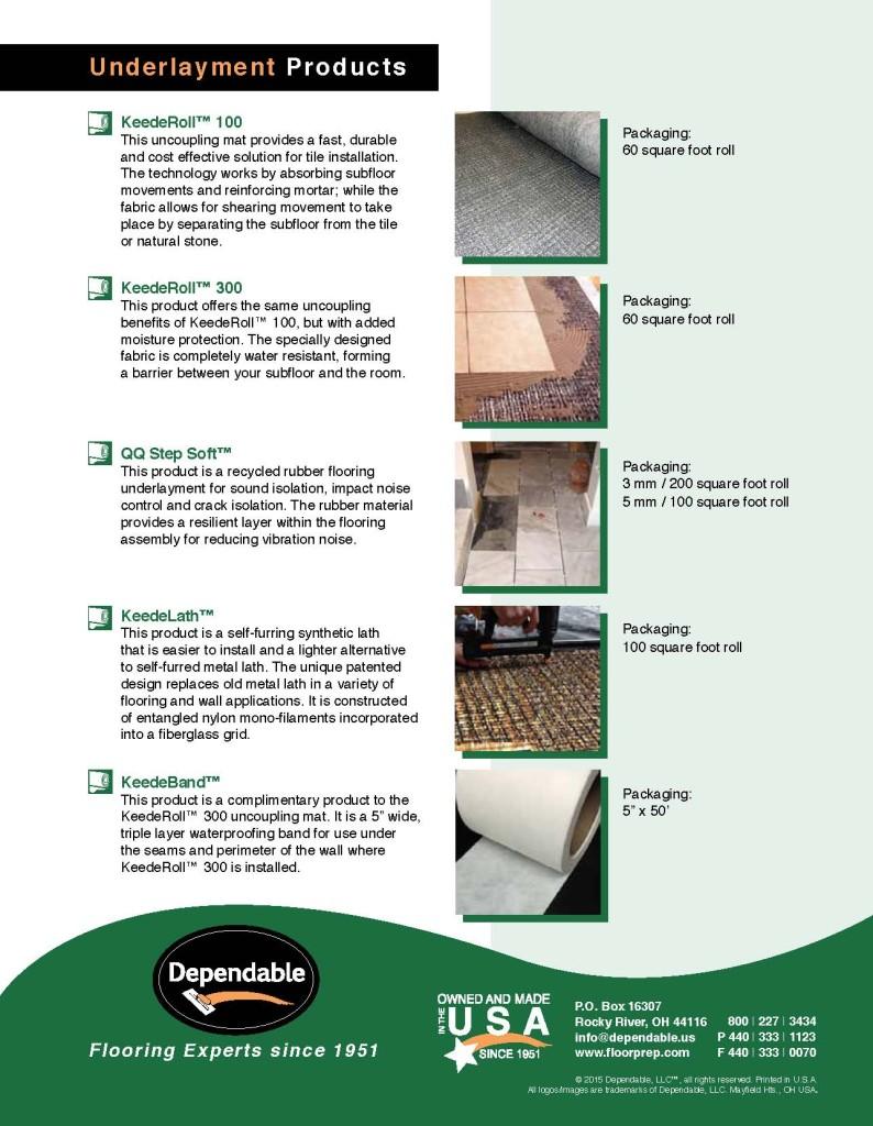 Dependable Underlayment Product Brochure 2